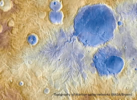 Topography of Martian valley networks (NASA/Brown)
