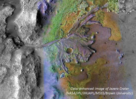 Color enhanced image of Jezero crater (NASA/JPL/JHUAPL/MSSS/Brown University