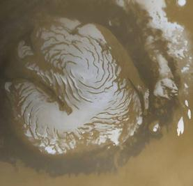 Southern polar ice cap on Mars