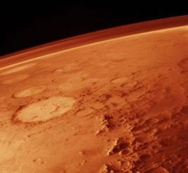 Image of thin atmosphere enveloping in Mars.