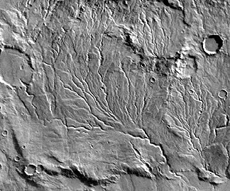 Image of stream drainage across the Southern Highlands of Mars.