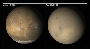 Image of dust storm on Mars.