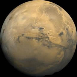 Image of Mars surface showing the prominent Valles Marineris.