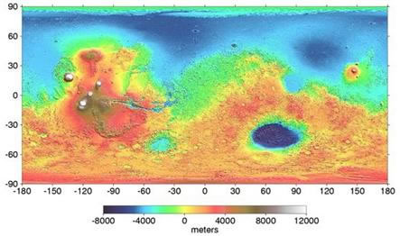 Image of Mars Orbiter Laser Altimeter (MOLA) map showing elevations of the Martian Surface.