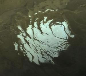 Image of water and carbon-dioxide ice ('dry ice') occur in the Southern Polar Ice Cap.