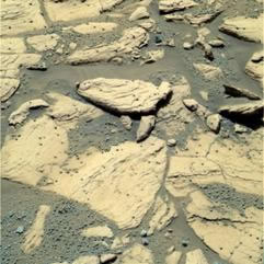 Rover images of layers in the rocks at the Martian surface.
