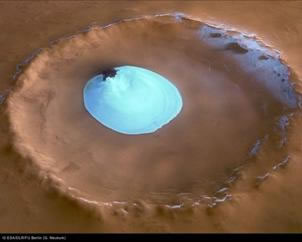 Image of residual water ice in Vastitas Borealis Crater.