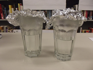 Water vapor in 2 tumblers