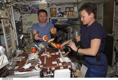 Flight Engineer and Astronaut preparing a meal.