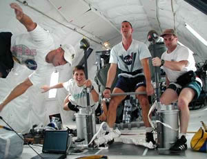 Astronauts exercising.  Credit: NASA, About the Exercise Physiology Laboratory