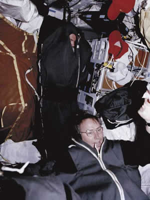 Astronauts and Mission specialist strap themselves into sleeping bags.   Credit: NASA, http://www.pbs.org/spacestation/gallery/8_sleep.htm