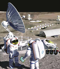 Artist concept of astronauts at the lunar outppost.