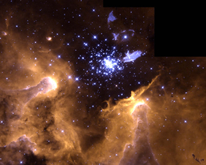 Hubble Space Telescope image of a giant galactic nebula (NGC 3603).