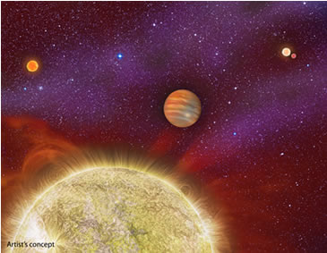 This artist's conception shows the 30 Ari system, which includes four stars and a planet. Credit: Karen Teramura, UH IfA.