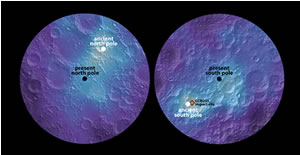 Polar hydrogen map of the Moon's northern and southern hemispheres