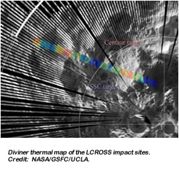Diviner thermal map of the LCROSS impact sites. Credit:  NASA/GSFC/UCLA.