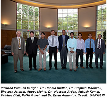 Pictured from left to right:  Dr. Donald Kniffen, Dr. Stephen Mackwell, Bhavesh Jaiswal, Apoov Mehta, Dr.  Hussein Jirdeh, Ankush Kumar, Vaibhav Dixit, Pulkit Goyal, and Dr. Erian Armanios. Credit:  USRA/LPI.