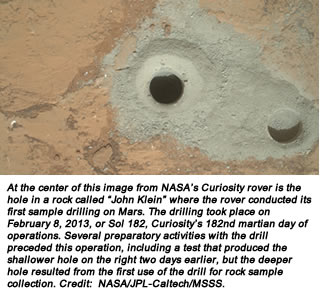 "At the center of this image from NASA's Curiosity rover is the hole in a rock called ""John Klein"" where the rover conducted its first sample drilling on Mars. The drilling took place on February 8, 2013, or Sol 182, Curiosity's 182nd martian day of operations. Several preparatory activities with the drill preceded this operation, including a test that produced the shallower hole on the right two days earlier, but the deeper hole resulted from the first use of the drill for rock sample collection. Credit:  NASA/JPL-Caltech/MSSS."