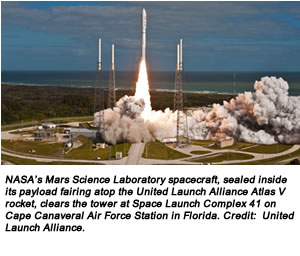 NASA's Mars Science Laboratory spacecraft, sealed inside its payload fairing atop the United Launch Alliance Atlas V rocket, clears the tower at Space Launch Complex 41 on Cape Canaveral Air Force Station in Florida. Credit:  United Launch Alliance.