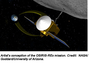 Artist's conception of the OSIRIS-REx mission. Credit:  NASA/Goddard/University of Arizona.