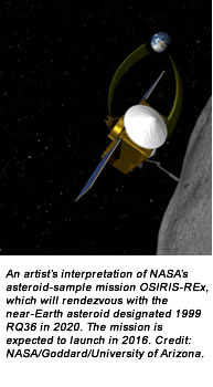 An artist's interpretation of NASA's asteroid-sample mission OSIRIS-REx, which will rendezvous with the near-Earth asteroid designated 1999 RQ36 in 2020. The mission is expected to launch in 2016. Credit:  NASA/Goddard/University of Arizona.