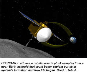 OSIRIS-REx will use a robotic arm to pluck samples from a near-Earth asteroid that could better explain our solar system's formation and how life began. Credit:  NASA.