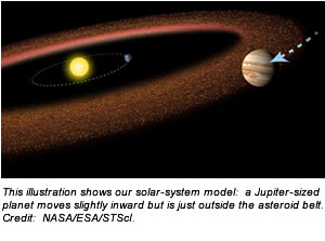 This illustration shows our solar-system model:  a Jupiter-sized planet moves slightly inward but is just outside the asteroid belt. Credit:  NASA/ESA/STScI.