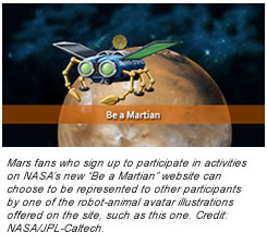 "Mars fans who sign up to participate in activities on NASA's new ""Be a Martian"" website can choose to be represented to other participants by one of the robot-animal avatar illustrations offered on the site, such as this one. Credit:  NASA/JPL-Caltech."