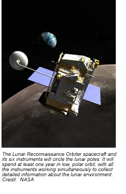 The Lunar Reconnaissance Orbiter spacecraft and its six instruments will circle the lunar poles. It will spend at least one year in low, polar orbit, with all the instruments working simultaneously to collect detailed information about the lunar environment.