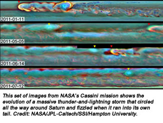 This set of images from NASA's Cassini mission shows the evolution of a massive thunder-and-lightning storm that circled all the way around Saturn and fizzled when it ran into its own tail. Credit: NASA/JPL-Caltech/SSI/Hampton University.
