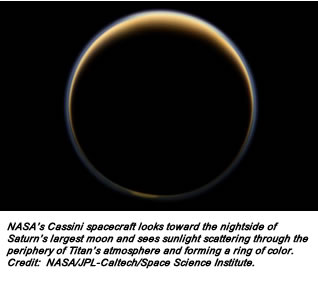 NASA's Cassini spacecraft looks toward the nightside of Saturn's largest moon and sees sunlight scattering through the periphery of Titan's atmosphere and forming a ring of color. Credit:  NASA/JPL-Caltech/Space Science Institute.