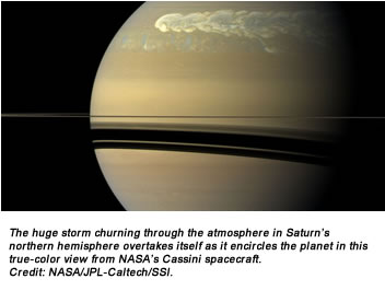The huge storm churning through the atmosphere in Saturn's northern hemisphere overtakes itself as it encircles the planet in this true-color view from NASA's Cassini spacecraft. Image credit: NASA/JPL-Caltech/SSI.