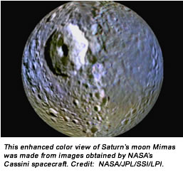 This enhanced color view of Saturn's moon Mimas was made from images obtained by NASA's Cassini spacecraft. Credit:  NASA/JPL/SSI/LPI.