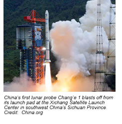 Chang'e 1 blasts off from its launch pad.