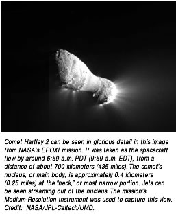 "Comet Hartley 2 can be seen in glorious detail in this image from NASA's EPOXI mission. It was taken as the spacecraft flew by around 6:59 a.m. PDT (9:59 a.m. EDT), from a distance of about 700 kilometers (435 miles). The comet's nucleus, or main body, is approximately 0.4 kilometers (0.25 miles) at the ""neck,"" or most narrow portion. Jets can be seen streaming out of the nucleus. The mission's Medium-Resolution Instrument was used to capture this view."