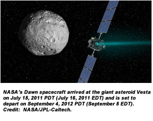NASA's Dawn spacecraft arrived at the giant asteroid Vesta on July 15, 2011 PDT (July 16, 2011 EDT) and is set to depart on September 4, 2012 PDT (September 5 EDT). Credit:  NASA/JPL-Caltech.