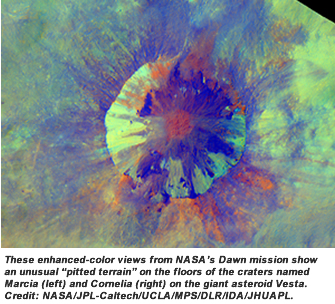 "These enhanced-color views from NASA's Dawn mission show an unusual ""pitted terrain"" on the floors of the craters named Marcia (left) and Cornelia (right) on the giant asteroid Vesta. Credit:  NASA/JPL-Caltech/UCLA/MPS/DLR/IDA/JHUAPL."
