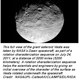This full view of the giant asteroid Vesta was taken by NASA's Dawn spacecraft, as part of a rotation characterization sequence on July 24, 2011, at a distance of 3200 miles (5200 kilometers). A rotation characterization sequence helps the scientists and engineers by giving an initial overview of the character of the surface as Vesta rotated underneath the spacecraft. Credit:  NASA/JPL-Caltech/UCLA/MPS/DLR/IDA.