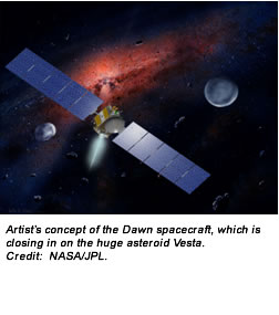 Artist's concept of the Dawn spacecraft, which is closing in on the huge asteroid Vesta. Credit:  NASA/JPL.