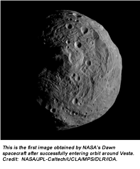 This is the first image obtained by NASA's Dawn spacecraft after successfully entering orbit around Vesta. Credit:  NASA/JPL-Caltech/UCLA/MPS/DLR/IDA.