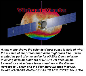 A new video shows the scientists' best guess to date of what the surface of the protoplanet Vesta might look like. It was created as part of an exercise for NASA's Dawn mission involving mission planners at NASA's Jet Propulsion Laboratory and science team members at the German Aerospace Center and the Planetary Science Institute. Credit:  NASA/JPL-Caltech/ESA/UCLA/DLR/PSI/STScI/UMd.