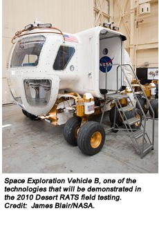 Space Exploration Vehicle B, one of the technologies that will be demonstrated in the 2010 Desert RATS field testing. Credit:  James Blair/NASA.