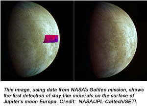 This image, using data from NASA's Galileo mission, shows the first detection of clay-like minerals on the surface of Jupiter's moon Europa. Credit:  NASA/JPL-Caltech/SETI.