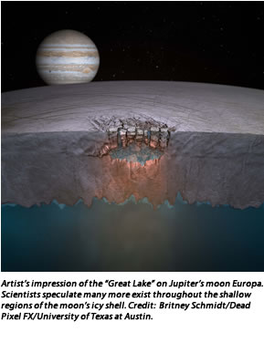 "Artist's impression of the ""Great Lake"" on Jupiter's moon Europa. Scientists speculate many more exist throughout the shallow regions of the moon's icy shell. Credit:  Britney Schmidt/Dead Pixel FX/University of Texas at Austin."