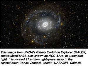 This image from NASA's Galaxy Evolution Explorer (GALEX) shows Messier 94, also known as NGC 4736, in ultraviolet light. It is located 17 million light-years away in the constellation Canes Venatici. Credit:  NASA/JPL-Caltech.