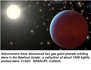 Astronomers have discovered two gas giant planets orbiting stars in the Beehive cluster, a collection of about 1000 tightly packed stars. Credit:  NASA/JPL-Caltech.