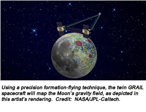 Using a precision formation-flying technique, the twin GRAIL spacecraft will map the Moon's gravity field, as depicted in this artist's rendering. Credit:  NASA/JPL-Caltech.