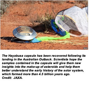 The Hayabusa capsule has been recovered following its landing in the Australian Outback. Scientists hope the samples contained in the capsule will give them new insights into the make-up of asteroids and help them better understand the early history of the solar system, which formed more than 4.5 billion years ago. Credit:  JAXA.