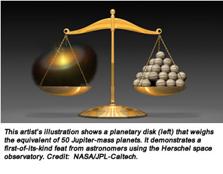 This artist's illustration shows a planetary disk (left) that weighs the equivalent of 50 Jupiter-mass planets. It demonstrates a first-of-its-kind feat from astronomers using the Herschel space observatory. Credit:  NASA/JPL-Caltech.