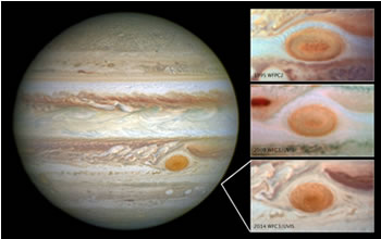 Images of Jupiter's Great Red Spot, taken by the Hubble Space Telescope over a span of 20 years, shows how the planet's trademark spot has decreased in size over the years. Credit: NASA/ESA.